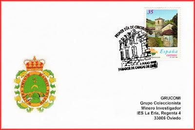 Tarjeta para el matasellos Primer Día de Circulación del sello dedicado al Parador Nacional de Cangas de Onís