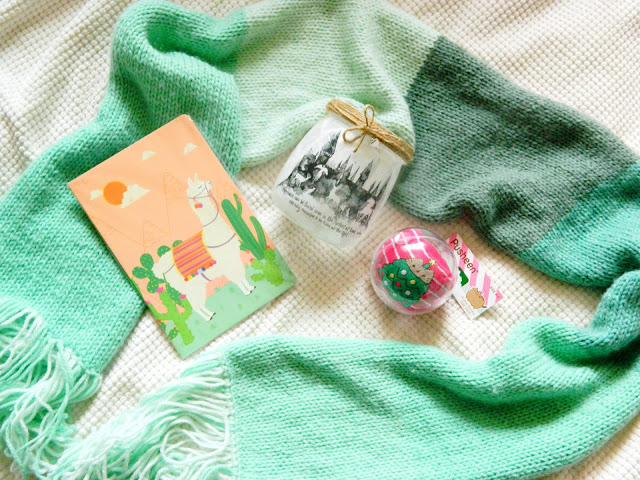 A photograph showing a green stripy scarf, a Harry Potter candle jar, a llama notebook and a baubel with pink Pusheen the cat socks inside