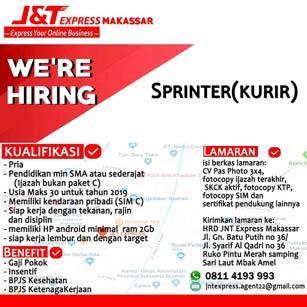 Lowongan Kerja Kurir di JNT Express Makassar