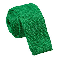 MENS KNITTED FOREST GREEN SQUARE END TIE