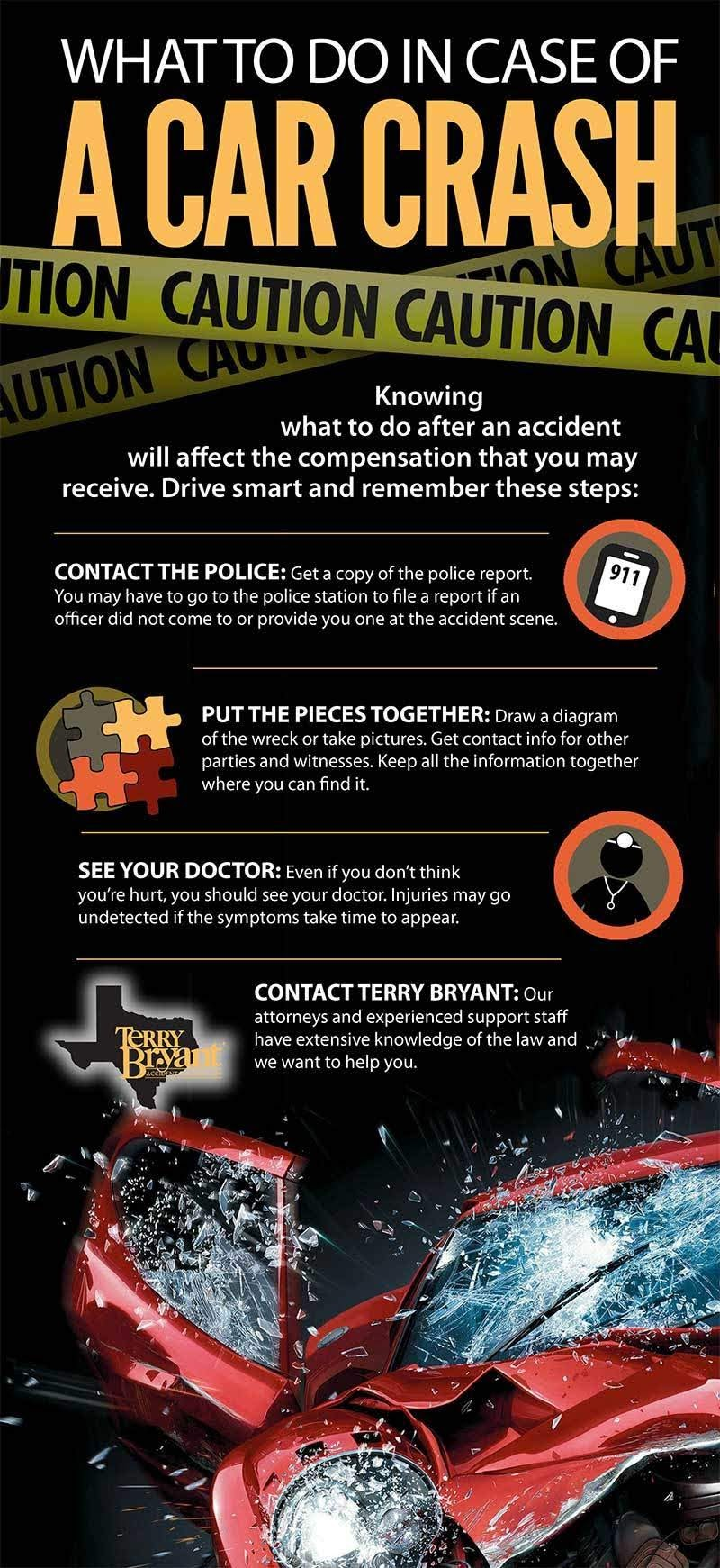 What To Do In Case of a Car Crash #infographic