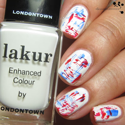 red, white and blue dry brush patriotic 4th of july nails using londontown lakur polishes