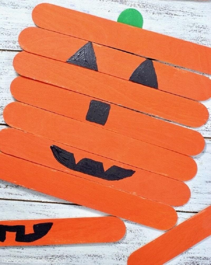 pumpkin popsicle stick face craft