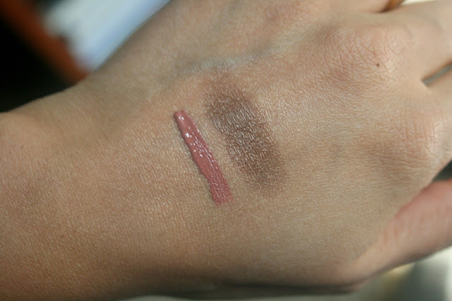 NARS Lip Cover in Overheated, Dual Intensity Eyeshadow in Tan Lines Swatches