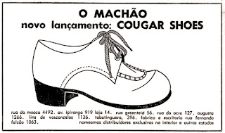 Cougar Shoes,  Brazil fashion in the 70's, 1970; moda anos 70; propaganda anos 70; história da década de 70; reclames anos 70; brazil in the 70s; Oswaldo Hernandez