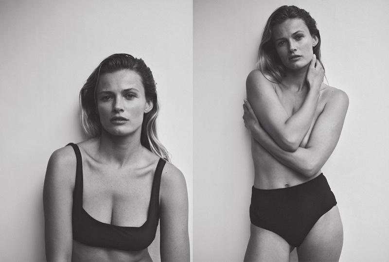 Edita Vilkeviciute poses in Zara Home black bikini top and bottoms.