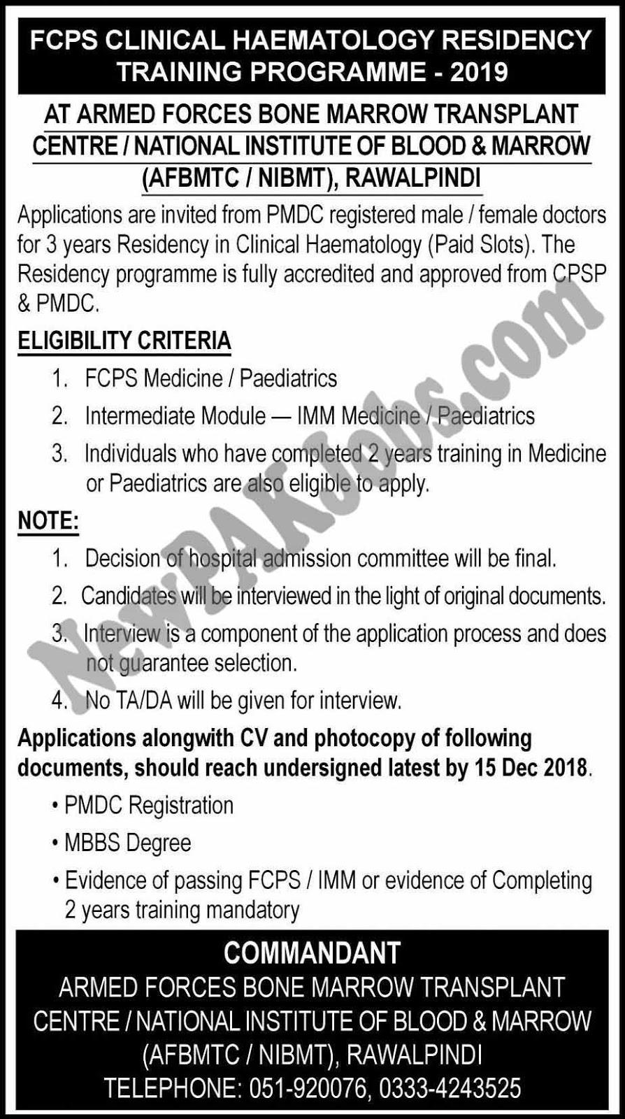 FCPS Clinical Haematology Residency Training Program 2019 newpakjobs.com