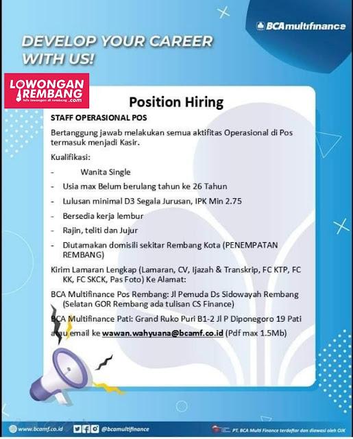 Lowongan Kerja Staff Operasional Pos BCA Finance Penempatan Rembang