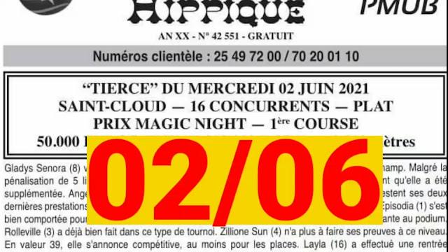 programme quinté+ Mercredi 02/06/2021