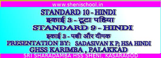 """Sri Sharadamba Hss Sheni Presentation On À¤ªà¤• À¤· À¤""""र À¤¦ À¤®à¤• À¤Ÿ À¤Ÿ À¤ªà¤¹ À¤¯ Of Std 9 And 10 Hindi Chapter 3"""