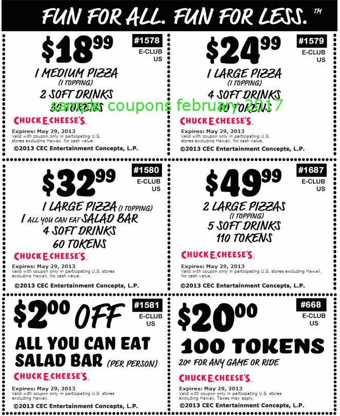 Printable Coupons 2017: Chuck E Cheese Coupons