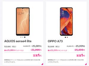 楽天モバイルで2機種が新たに実質1円~に!AQUOS sense4 liteとOPPO A73で値下げと最大25000ポイント還元