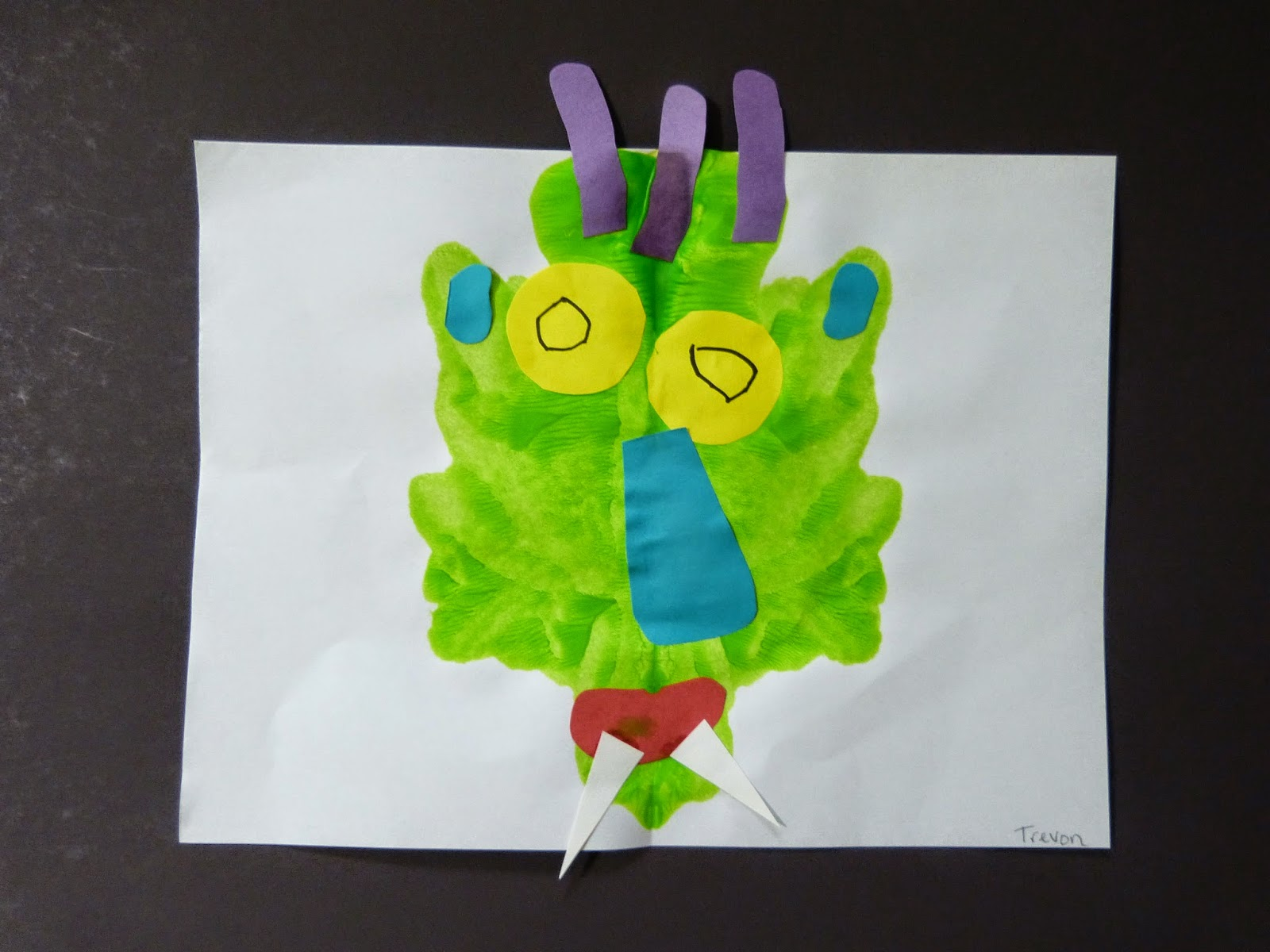 What a fun craft project for Halloween - it's Go Away Big Green Monster!