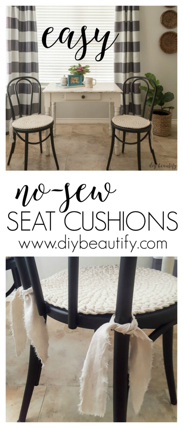 no-sew seat cushions | diy beautify blog