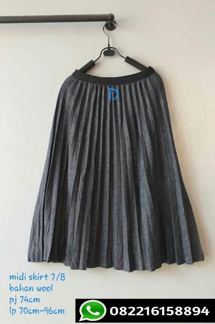 rok plisket import warna abu tua