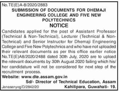Notice DTE Assam, Recruitment 2020: Upload Documents