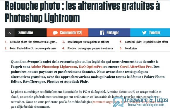 Le site du jour : Les alternatives gratuites à Photoshop Lightroom