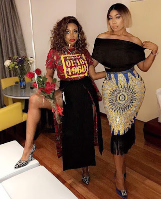 Kika good hair & Chioma Ikokwu dress in afrocentric patterns with lovely fringe hairs style.