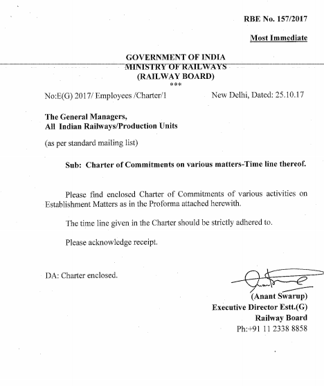 Charter of commitments on various matters time line thereof also irctc rh irctcnewsgroupspot
