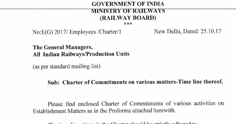 Charter of commitments on various matters time line thereof irctc news  indian railway also rh irctcnewsgroupspot