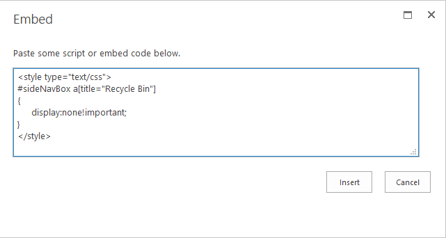 sharepoint online hide recycle bin from quick launch