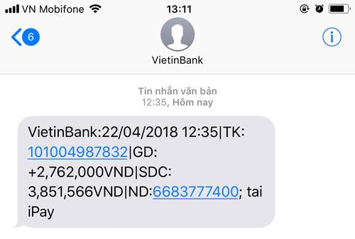 Nhận tiền từ Western Union bằng Vietinbank iPay