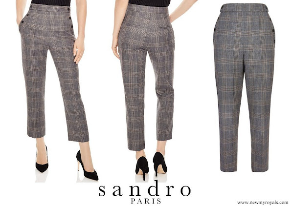 Crown Princess Mary wore Sandro Binic Plaid Button-Detail Pants