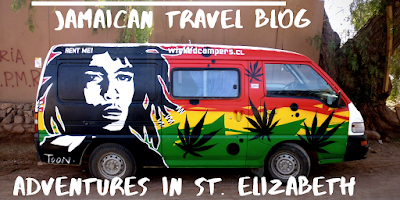 Chevy Takes The Mic Jamaican Travel Blog Series Adventures in St. Elizabeth Jamaica, mini van with Bob Marley painting and weed