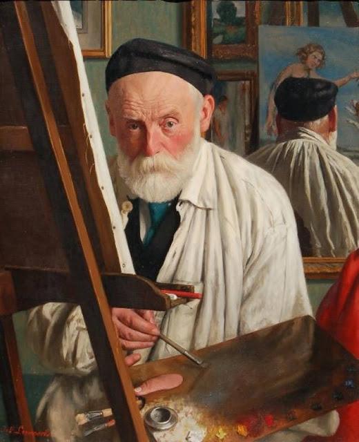Joseph Leempoels, Self Portrait, Portraits of Painters, Fine arts, Portraits of painters blog, Paintings of  Joseph Leempoels, Painter Joseph Leempoels