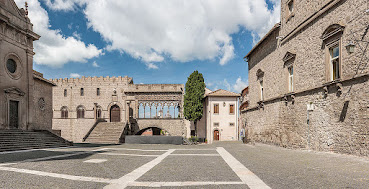 The Piazza San Lorenzo in the ancient walled city of Viterbo in northern Lazio
