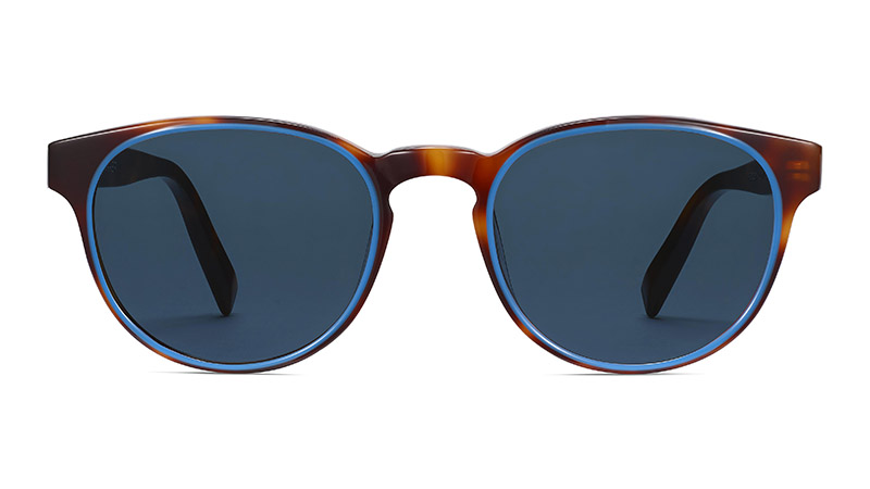 Warby Parker Percey Sunglasses in Oak Barrel with Cerulean