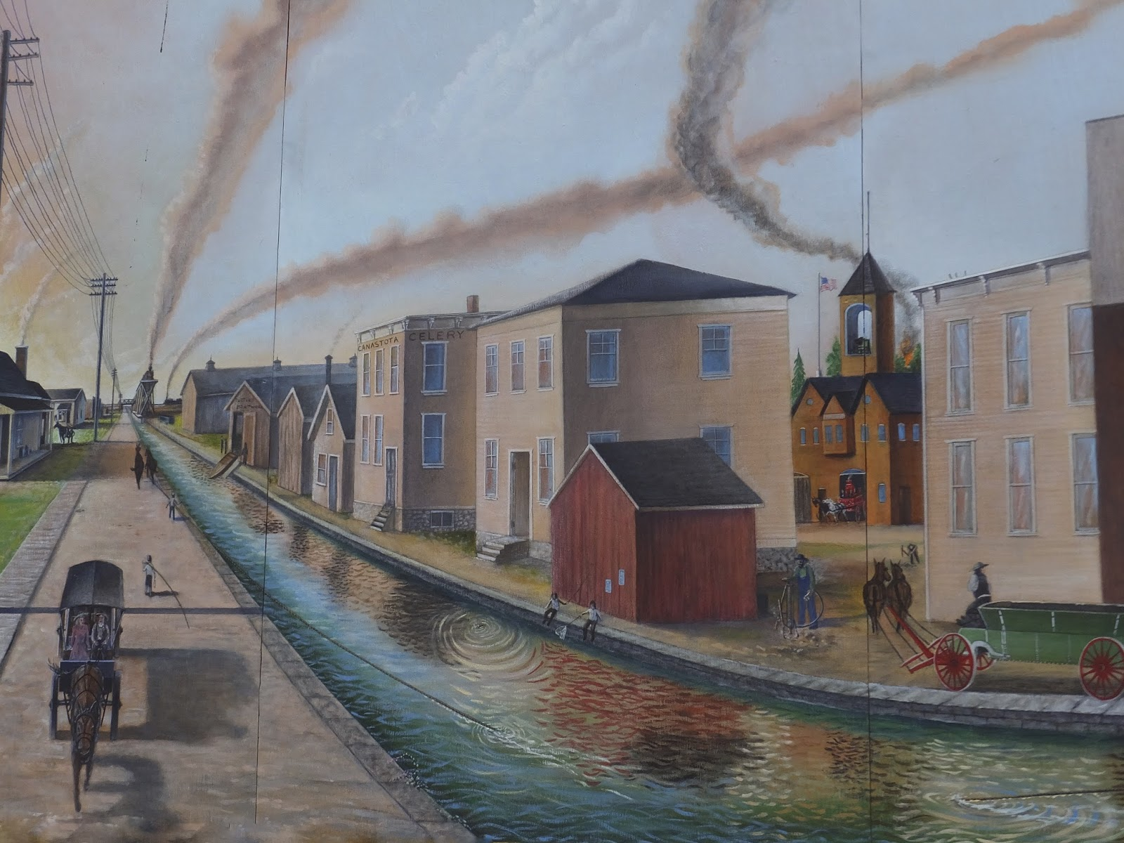 Merry syracuse mural of the erie canal at canastota for Canal fluminense mural
