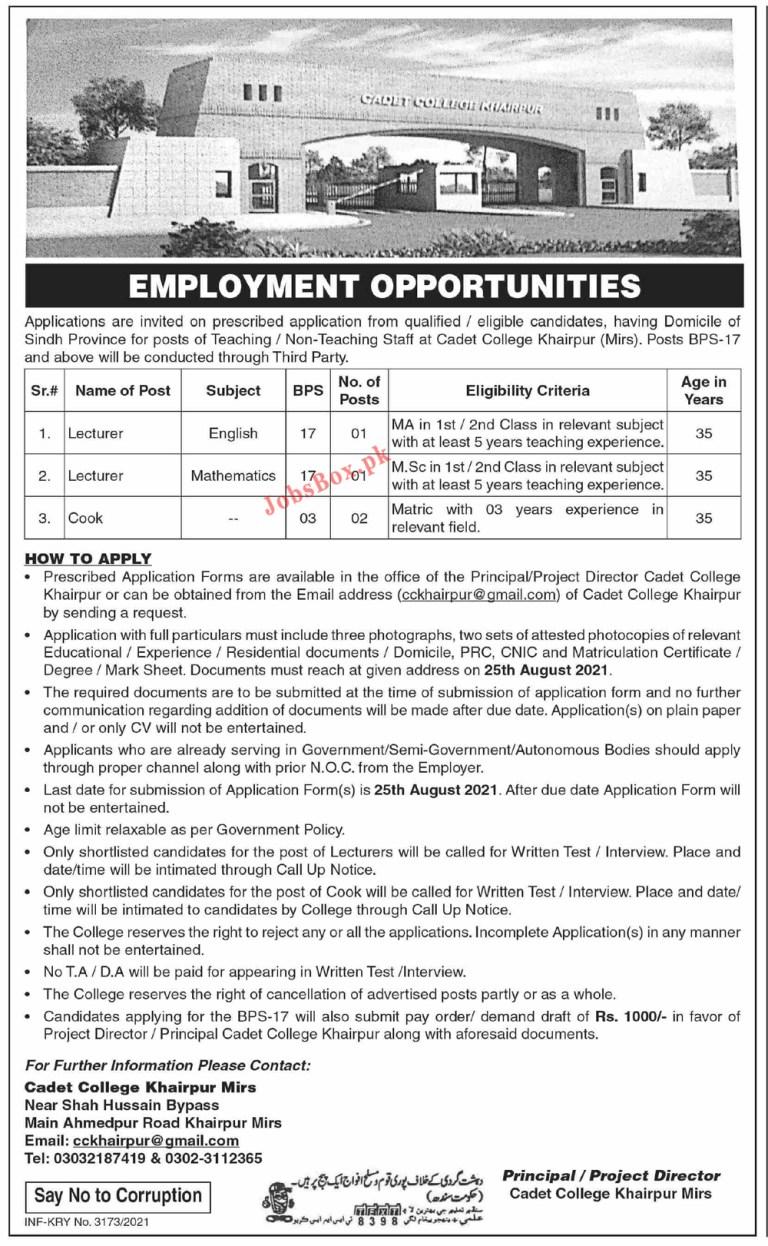 Cadet College Khairpur Jobs 2021 – CCK Lecturers Jobs