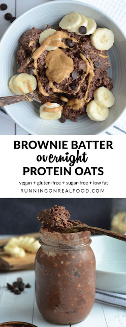 Quick Brownie Batter Overnight Protein Oats - It's Dessert For Breakfast