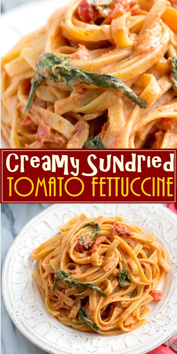 Creamy Sundried Tomato Fettuccine #pastarecipes