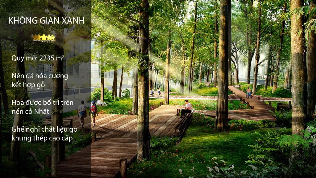 Khu vườn dạo bộ tại dự án Panorama - Hoàng Mai