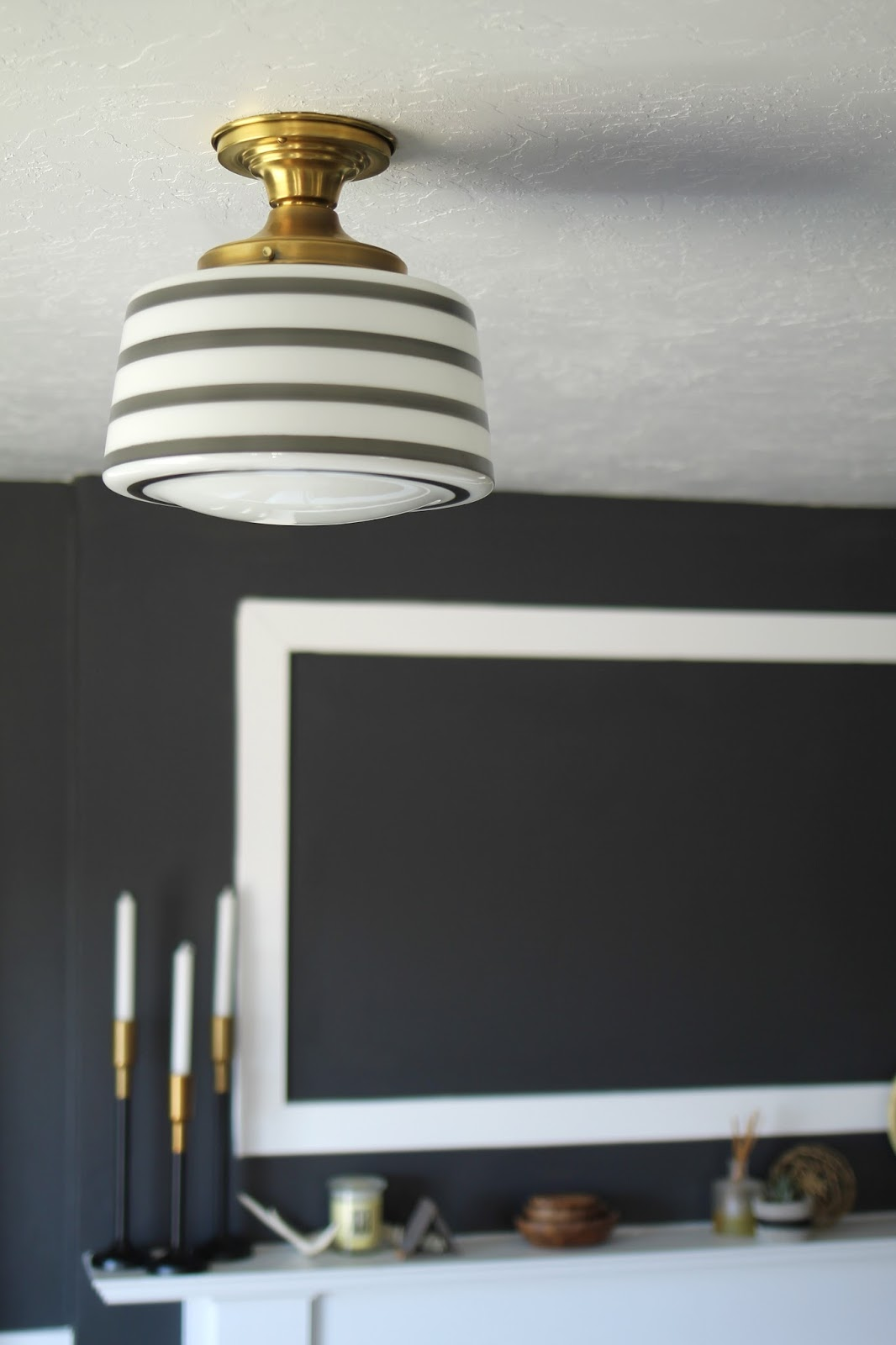 charcoal, living, room, benjamin moore, wrought iron, modern,  School house electric light mid century decor design home