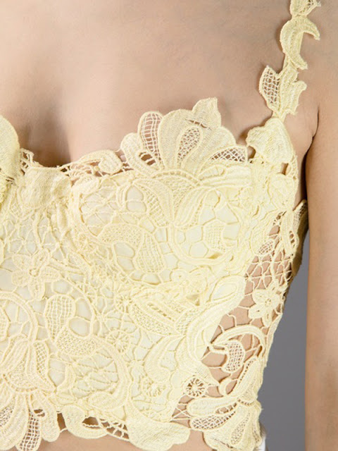Ermanno Scervino Yellow Crochet Cropped Bustier