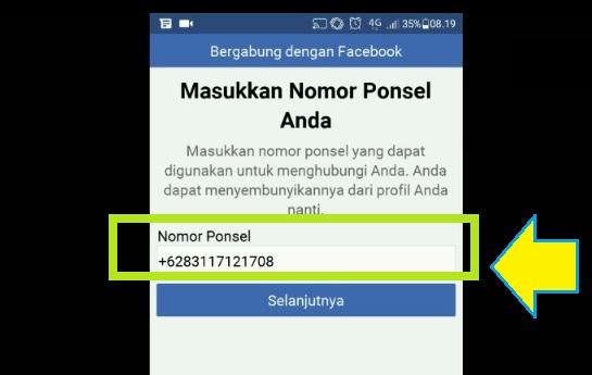 Input no telp Anda untuk daftar facebook