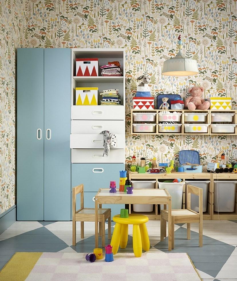 catálogo ikea 2020 dormitorio infantil armario celeste y blanco novedad
