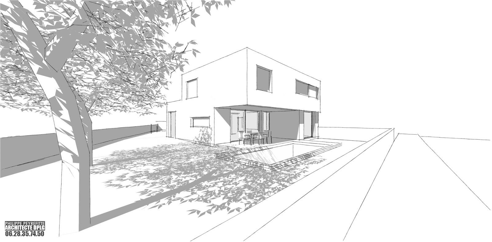 plan maison cubique etage. Black Bedroom Furniture Sets. Home Design Ideas