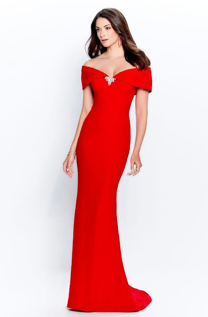 MONTAGE BY MON CHERI - 120905 OFF SHOULDER BROOCH ACCENT SHEATH GOWN