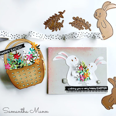 Easter Card & Easter Gift Basket by Samantha Mann for Spellbinders, Deco Foil, Flock, Transfer Duo Gel, Die Cutting, youtube, Video, Tutorial, DIY Easter, #spellbinders ##SpellbindersClubKits #NeverStopMaking #lawnfawn #giftbasket #easter #cards #distressinks