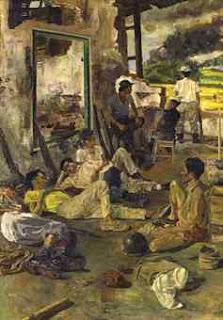 """Ngaso"" by S. Sudjojono, Size: 140cm x 100 cm, Medium: Oil on canvas, Year: 1964"