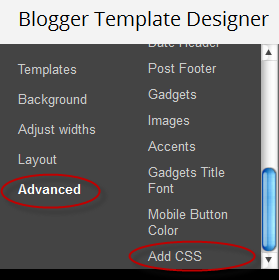 How to Add CSS code To Blogger using Template Designer 1