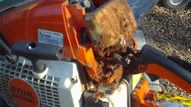 dirt air filter on a chinsaw stihl