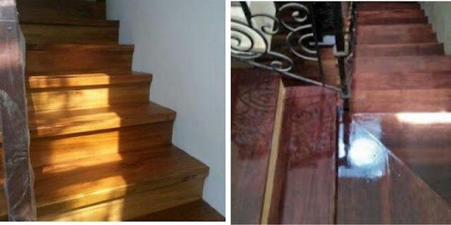 papan kayu pelapis tangga