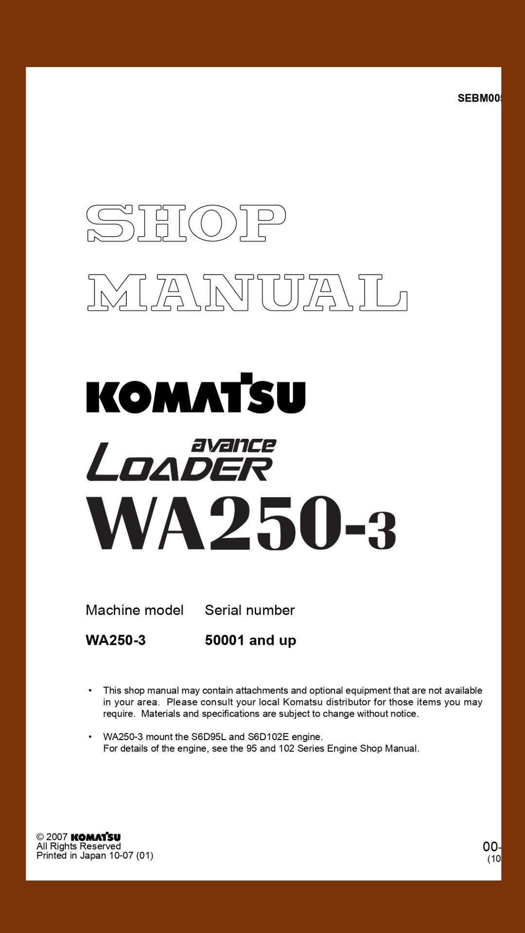 Komatsu Shop manual WA250-3