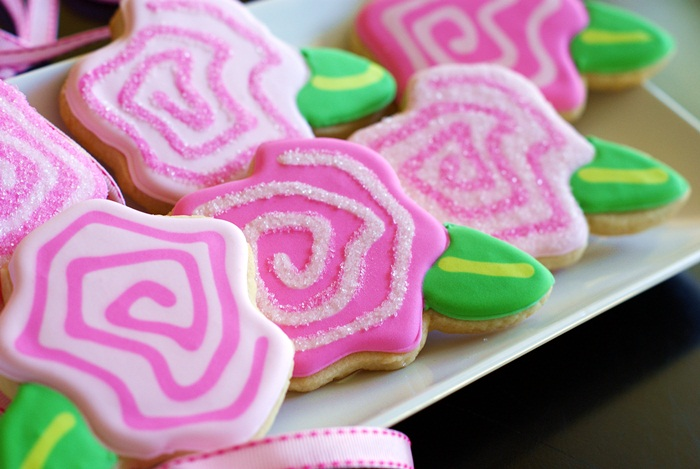 """""""frosted"""" pink open rose cookies"""