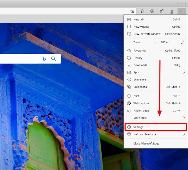Microsoft Edge settings highlight
